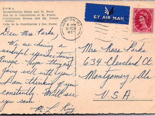 A postcard to Rosa Parks from the late Dr. Martin Luther