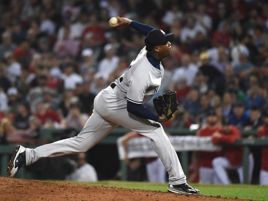 Aroldis Chapman and the Yankees' bullpen had a rough showing against the Red Sox.