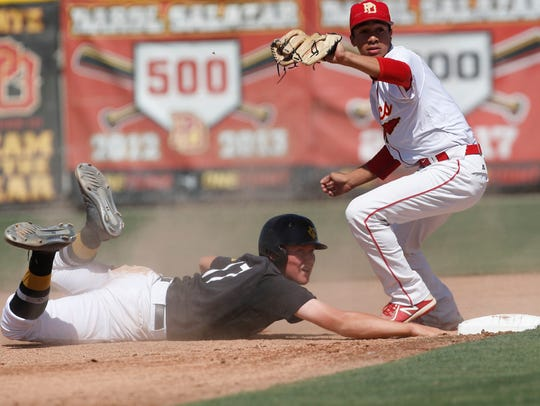 Palm Desert High School's Jordan Sprinkle is unable