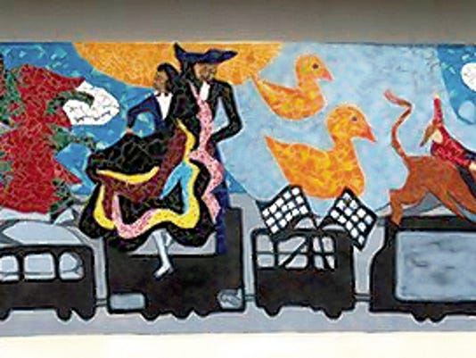 Courtesy Photo   The finished mural at the rear of the Luna County Courthouse Park grounds.