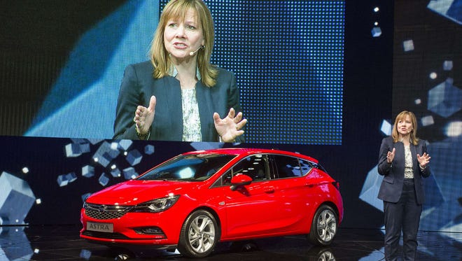 General Motors CEO Mary Barra has been in discussions with French automaker PSA Group to potentially sell the company's European division. In this 2015 photo, Barra is presenting the new Opel Astra at the 66th IAA auto show in Frankfurt, Germany.