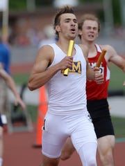Kettle Moraine's Ben Psicihulis runs the anchor leg of the 4x400-meter relay to a state championship June 3 in La Crosse.