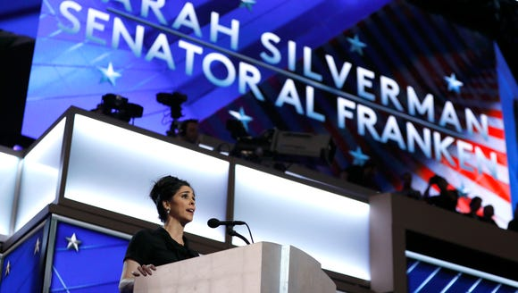 Actress Sarah Silverman speaks during the first day