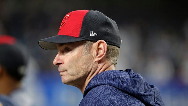 Minnesota Twins manager Paul Molitor watches as his team takes batting practice for the American League wild-card baseball game against the New York Yankees on Tuesday, Oct. 3, 2017, in New York.