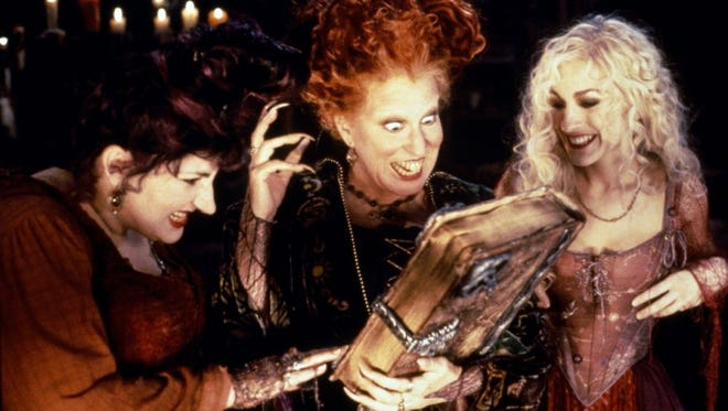 """From left: Kathy Najimy, Midler and Sarah Jessica Parker starred in the 1993 film, """"Hocus Pocus,"""" a cult classic."""