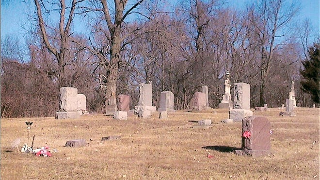 Bishop Cemetery in rural Marengo, which has been platted and mapped as to documented burials in the cemetery.