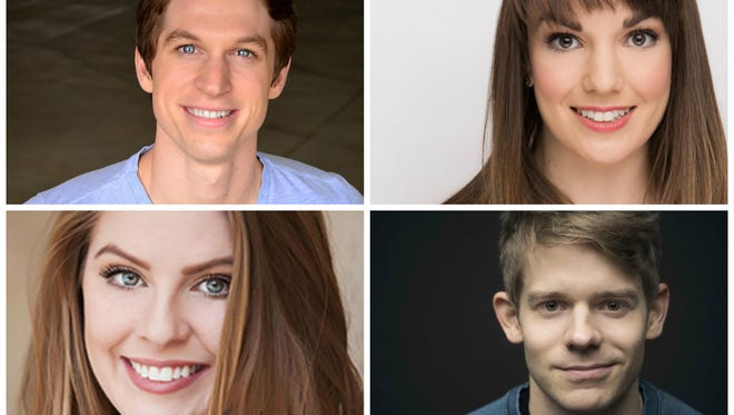 Musical theater professionals Griffith Whitehurst (from top left), Kara Lindsay, Sarah Brackett and Andrew Keenan-Bolger will take part in the Broadway Legends Workshop for youth in San Angelo.
