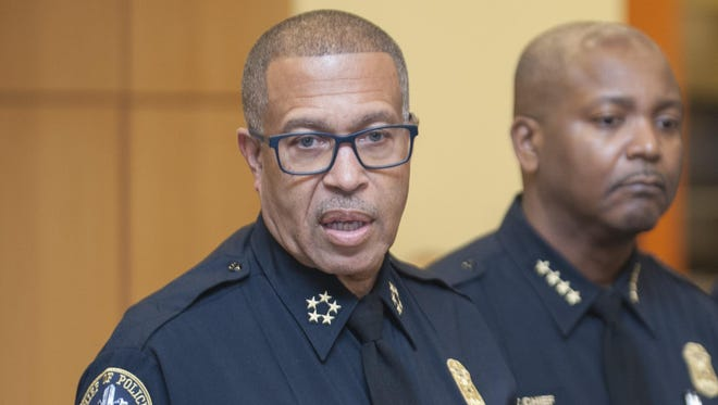 Detroit Police Chief James Craig, left, with  assistant chief James White.