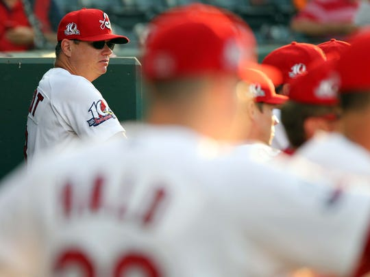 St. Louis Cardinals manager Mike Shildt stands in the dugout from when he was the Springfield Cardinals manager.