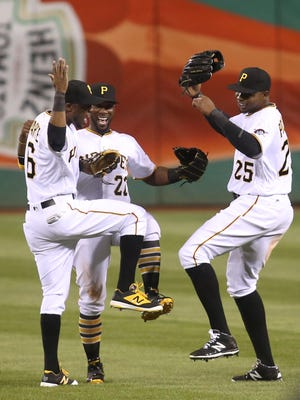 The Pirates outfield of (L-R) Starling Marte, Andrew McCutchen and Gregory Polanco is one of the best trios in the game.