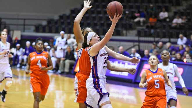 Beatrice Attura goes up for a layup against Sam Houston State on Saturday.