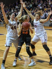Valley's Anna Bernhard (24) looks to pass to a teammate