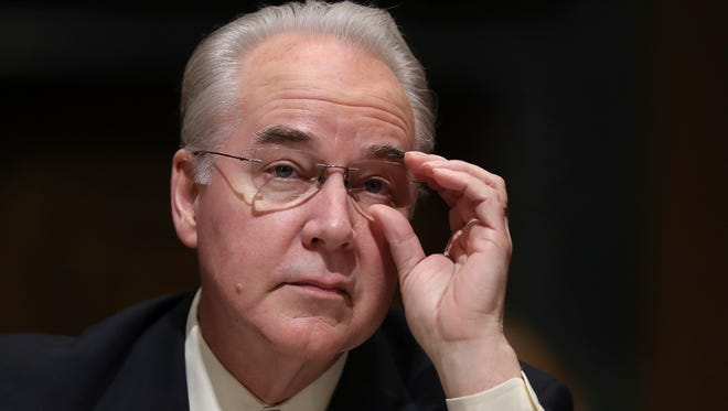 Tom Price pauses while testifying on Capitol Hill at his confirmation hearing before the Senate Finance Committee on Jan. 24, 2017.