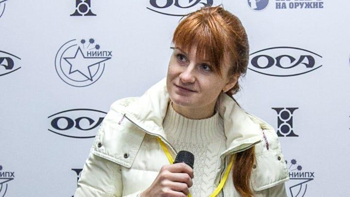 Mariia Butina, leader of a pro-gun organization, speaks