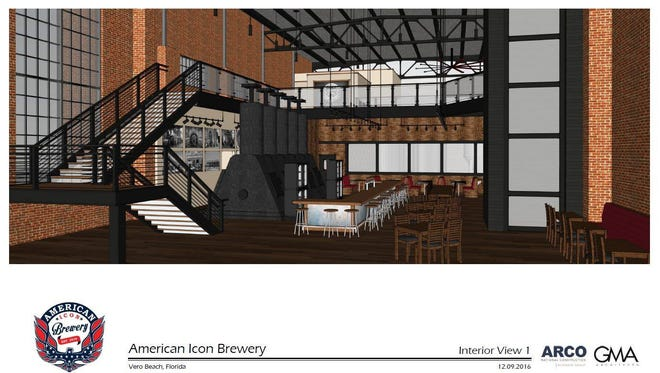 Rendering of what the interior of the American Icon Brewery will look like.
