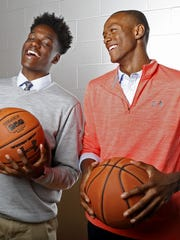Ranney basketball superstars Bryan Antoine (left) and Scottie Lewis talk about their upcoming All-Star charity basketball game. Tinton Falls,NJ. Monday, September 11