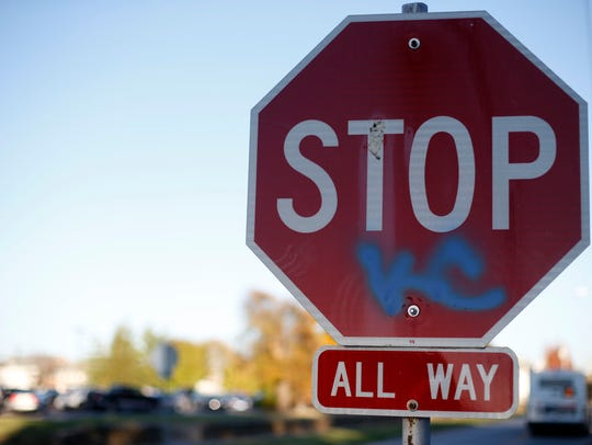 A stop sign was the target of graffiti after the Royals