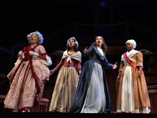 """Starring in the Binghamton University Fall 2018 production of """"The Revolutionists"""" are, from left, Amelia Pena (Marie Antoinette), Liz Sierra (Charlotte Corday), Margaret Lesienheimer (Olympe DeGouges) and Brianna Simpkins (Marianne Angelle)."""