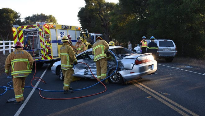 One person was rescued by firefighters from a collision involving two vehicles along Baldwin Road in the area of Oak View on Thursday evening.