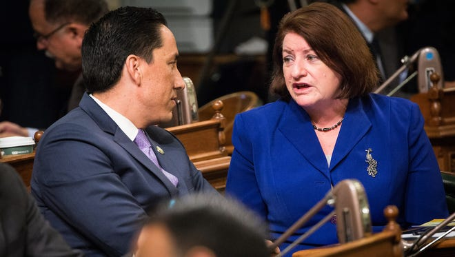 Sen. Toni Atkins (right) before the State of the State address at the State Capitol in Sacramento, California, January 25, 2018.
