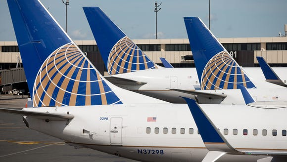 United Airlines jets await their next flights from