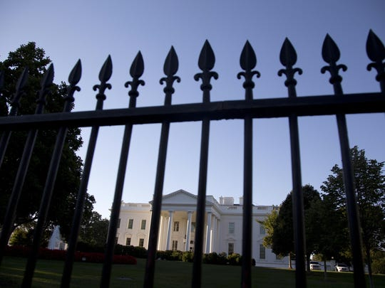 The White House is photographed from Pennsylvania Avenue