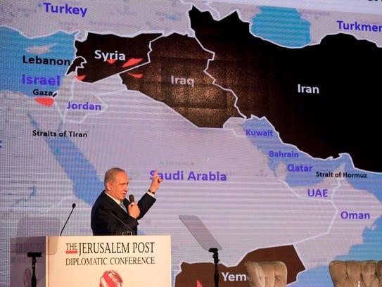 Israeli Prime Minister Benjamin Netanyahu delivers