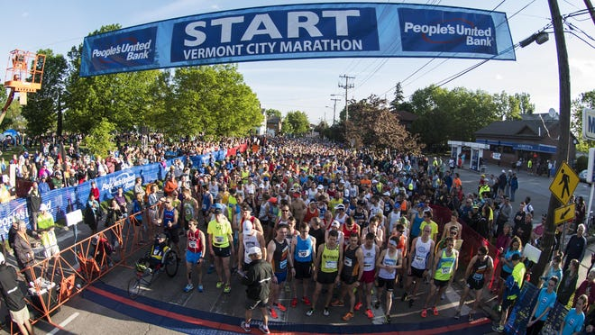 Runners wait at the start line for the race to start during the 2017 Vermont City Marathon on Sunday May 28, 2017 in Burlington.