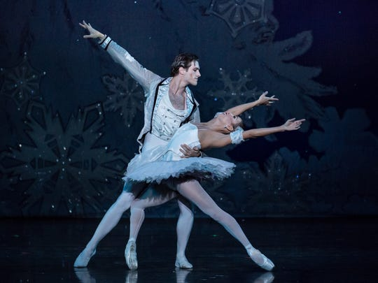 "PatricPalkens and Maizyalet Velázquez  as the Snow King and Queen in Cincinnati Ballet's production of ""The Nutcracker,"" at the Kennedy Center in Washington, D.C."