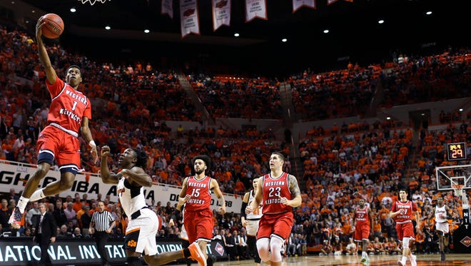Western Kentucky guard Lamonte Bearden (1) shoots against Oklahoma State during an NCAA college basketball game in the NIT quarterfinals Wednesday, March 21, 2018, in Stillwater, Okla. (Austin Anthony/Daily News via AP)
