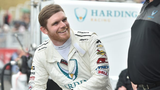 Harding Racing's Conor Daly is all smiles Saturday after qualifying 11th for Sunday's Honda Indy Toronto.