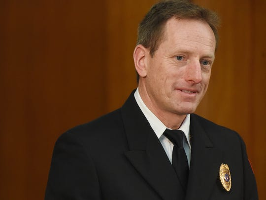 Brad Goodroad has been named the finalist for the Sioux Falls Fire Chief during a press conference Friday at City Hall.