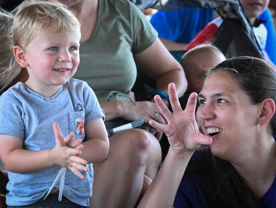 Connor Thompson, 2, and his mother Susan Thompson find