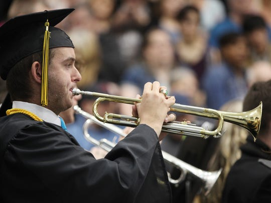 Josh Mullen plays the trumpet in the Buffalo Gap High
