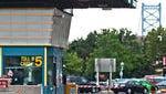 Ben Franklin Bridge toll plaza in Camden