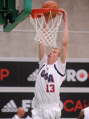 Rowan Maverick of Team USA dunks during adidas Eurocamp day one at La Ghirada sports center on June 7, 2014 in Treviso, Italy.
