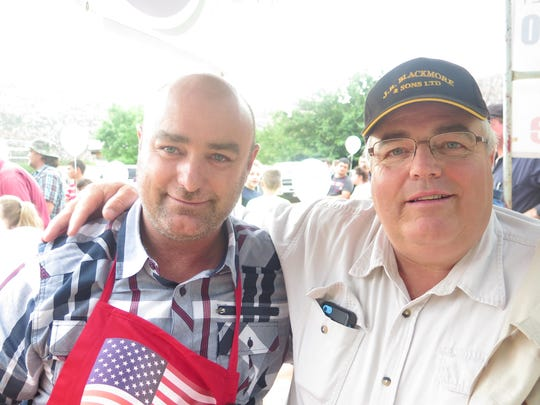 George Jessop, left, and Winston Blackmore visit at Colorado City's Fourth of July 2015 celebration at Cottonwood Park. Jessop organized the event, heralded as the first in nearly a generation in the city. Blackmore, the leader of a breakaway FLDS group in British Columbia, Canada, was visiting for the event.