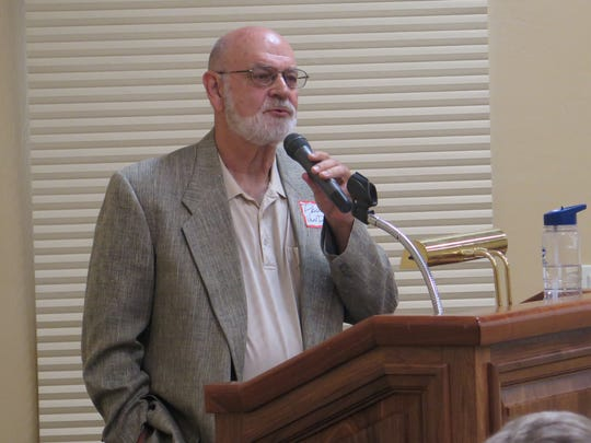 Paul Van Dam speaks about Washington County's water future and the proposed Lake Powell Pipeline at a forum in the SunRiver area of St. George on Monday, Sept. 21, 2015.