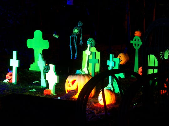 A creepy graveyard at Haunted Village located at the
