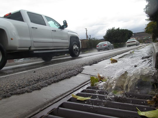 Gutters were full in St. George on Monday as a late