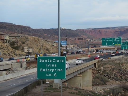 Interstate 15 traffic passes through a construction zone where a bridge crosses the Virgin River in St. George on Friday, Feb. 3, 2016.