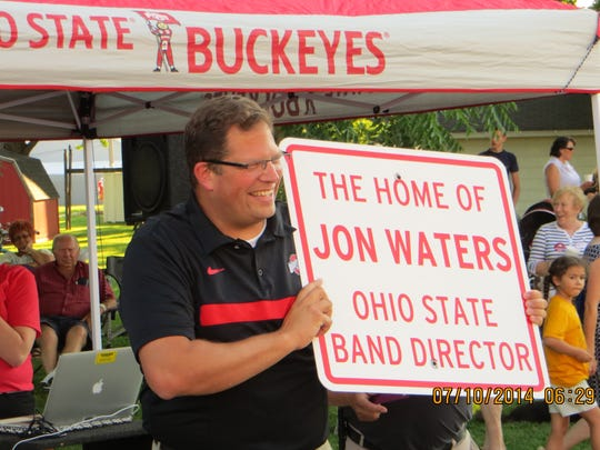 Jon Waters was honored by his hometown of Elmore in July 2014, shortly before a scandal cost him his job as the marching band director at the Ohio State University.