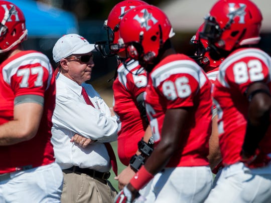 Huntingdon coach Mike Turk against LaGrange at the Huntingdon campus on Saturday, October 15, 2019.
