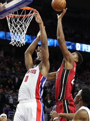 Heat center Hassan Whiteside tips the ball in at the buzzer over Andre Drummond to stun the Pistons, 97-96, on March 28, 2017 at the Palace.