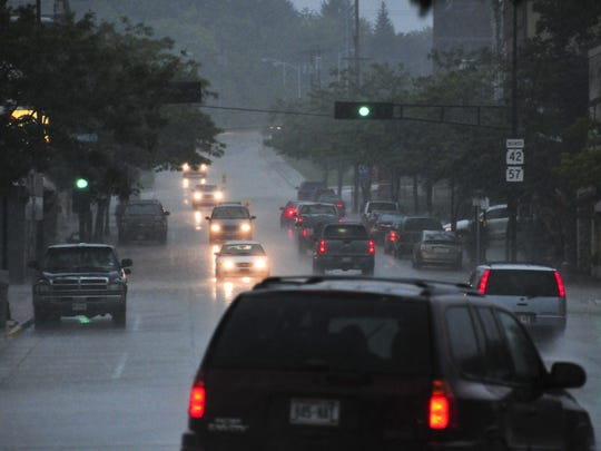 Madison Avenue in Sturgeon Bay during the rainstorm.