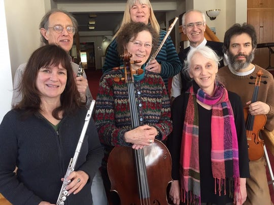 """Music's Recreation will perform world premiere of commissioned work by Tom Schneller, """"Jorinda & Joringel,"""" on Sunday. Left to right are Beth Kelly, John Greenly, Elisa Evett, Laura Campbell, Bill Cowdery, Karen Melamed Smith and Bill Hurley."""