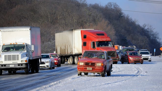 Traffic along Interstate 40 eastbound at exit 192 was at a standstill until 8 a.m. due to icy conditions.