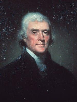A portrait of Thomas Jefferson.