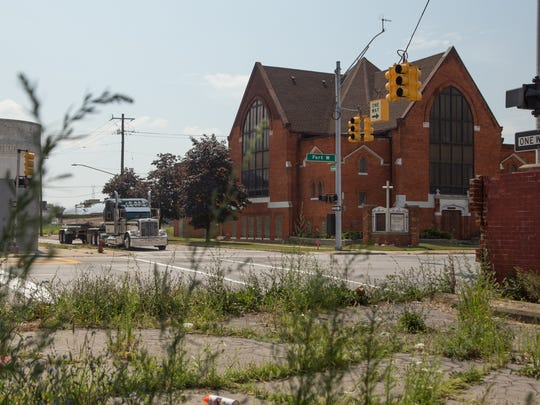 A view of the First Latin American Baptist Church, once known as Immanuel Baptist Church on Fort St., is slated for demolition to make way for the Gordie Howe International Bridge.  is seen on Thursday August 11, 2017.
