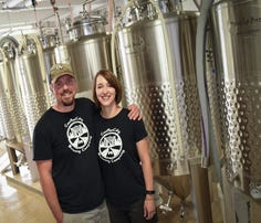 Jim and Kiley Hilligan of ConfluxCity Brewing Company in Portland, pictured May 23, 2018. The new business is set to open its doors Friday, June 8, 2018.